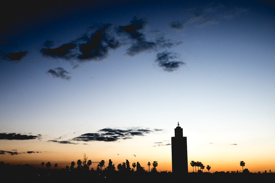 Mountain bike vacation Morocco in photos - minaret sunset