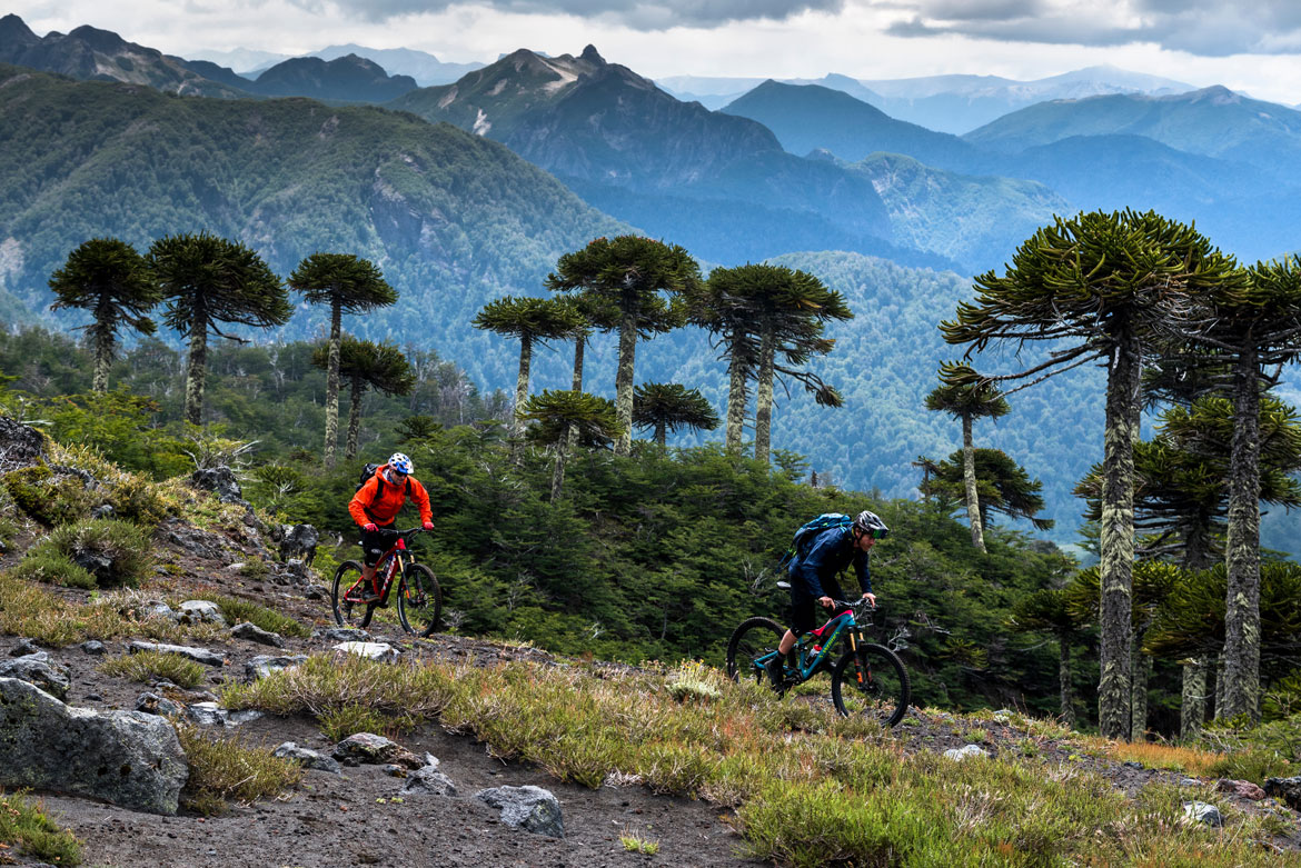 Rene Wildhaber and Matt Hunter in Chile as part of a mountain bike adventures South America