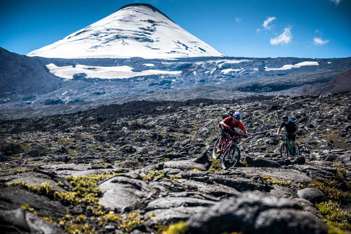 Riding on volcanoes as part of our mountain bike adventures South America