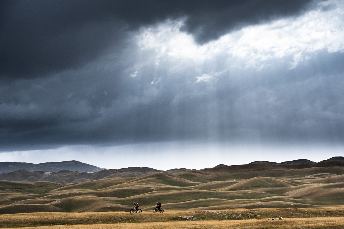 Stormy weather whilst mountain biking in Kyrgyzstan.