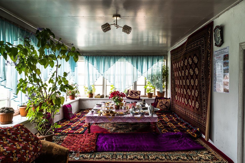 The interior of a home in Kyrgyzstan whilst Mountain biking in Kyrgyzstan