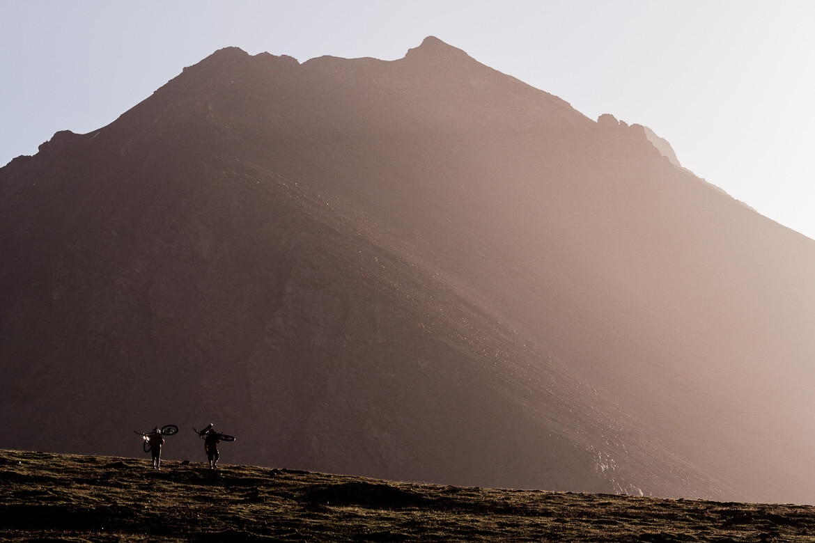Soaking up the evening light whilst Mountain biking in Kyrgyzstan