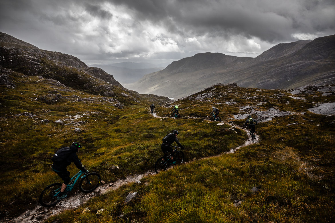 Riding the Annat descent during the Yeti Tribe Scotland.