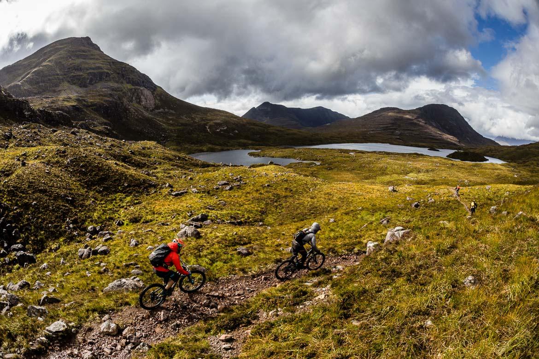 Riding the classic Annat descent on the Yeti Tribe Scotland.