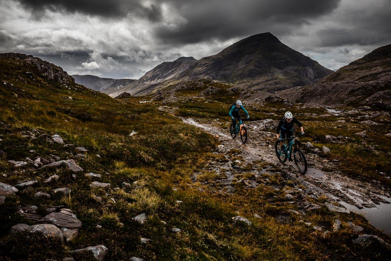 Mountain biking in the Torridon hills during the Yeti Tribe Scotland.