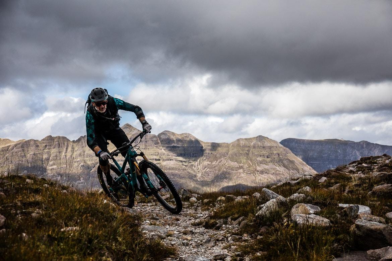 Paul Rowney riding on the Yeti Tribe Scotland.