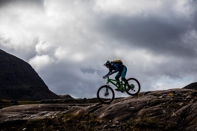 Riding the Achnashellach descent during the Yeti Tribe Scotland.