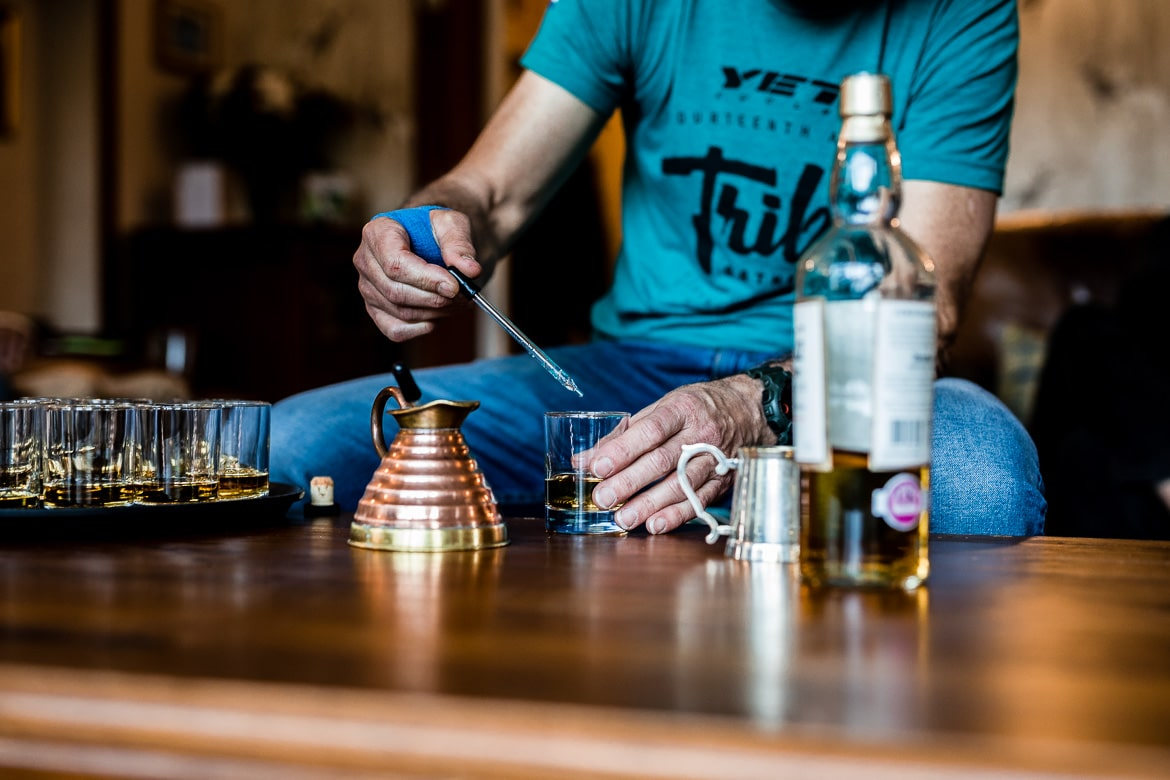 Sampling the local whisky on the Yeti Tribe Scotland.