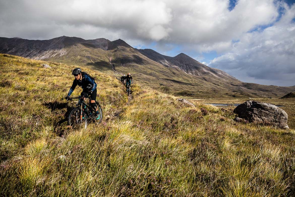 Riding towards the Ling Hut during the Yeti Tribe Scotland