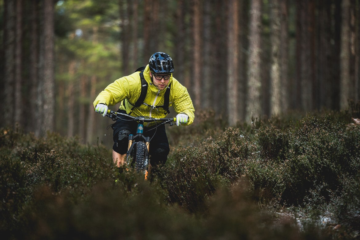 Darting through the heather with local Aviemore mountain bike guide Chris Gibbs