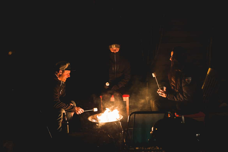 local Aviemore mountain bike guide Chris Gibbs roasting marshmallows.