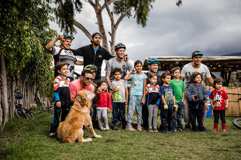 Local mountain bike guide Ecuador José Jijon and his crew at the Campo Bici pump track.