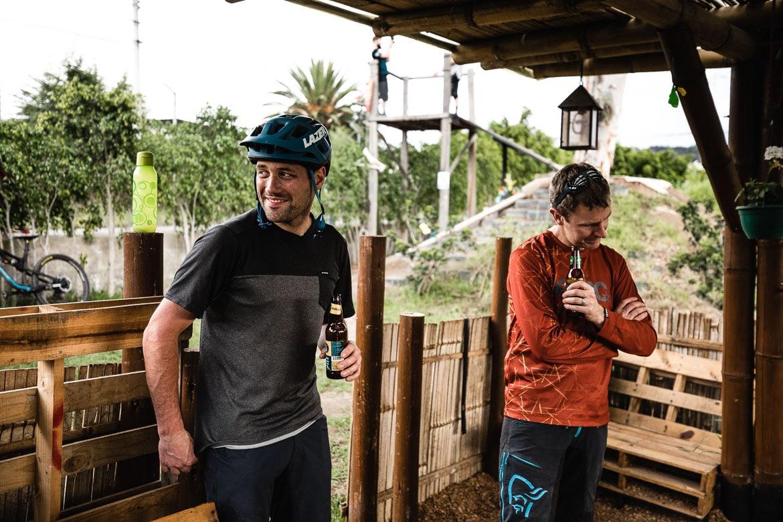 Thomas Vanderham and Euan Wilson enjoying a beer with local mountain bike guide Ecuador José Jijon.