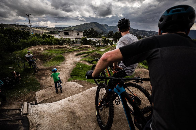 Riding at the Campo Bici pump track in Quito, run by local mountain bike guide Ecuador.