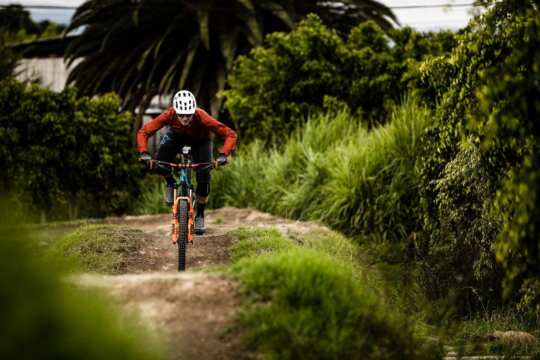 H+I Adventures' Euan Wilson riding on the pump track of local mountain bike guide Ecuador.