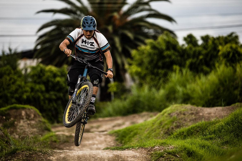 Local mountain bike guide Ecuador José Jijon on his pump track in Quito.