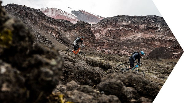 Scotty and Thomas ride in the slopes of Cotopaxi in our Ecuador MTB Film