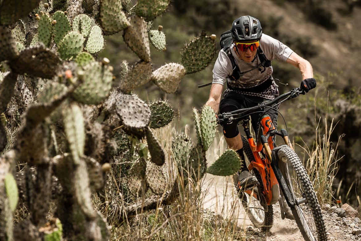 Riding through the cactus on our Mountain biking Ecuador trip