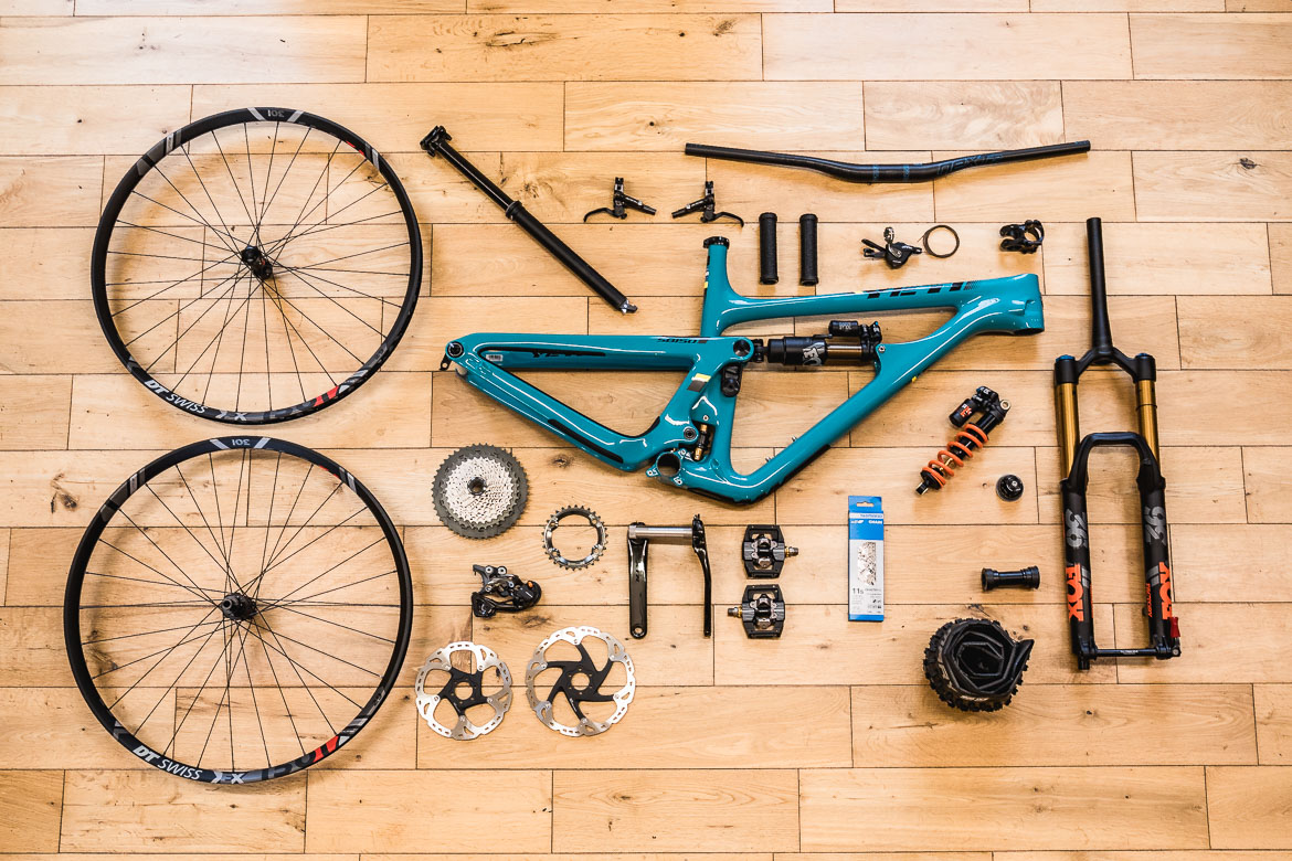 All the components for the Yeti SB150 dream build