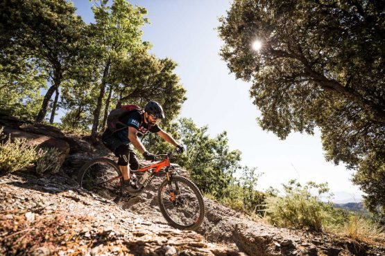 Technical turns on a Mountain bike tour Spain
