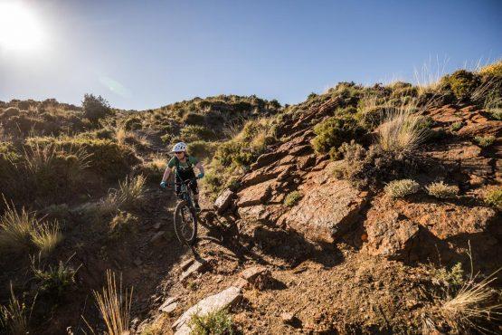 Through the red dirt on a Mountain bike tour Spain