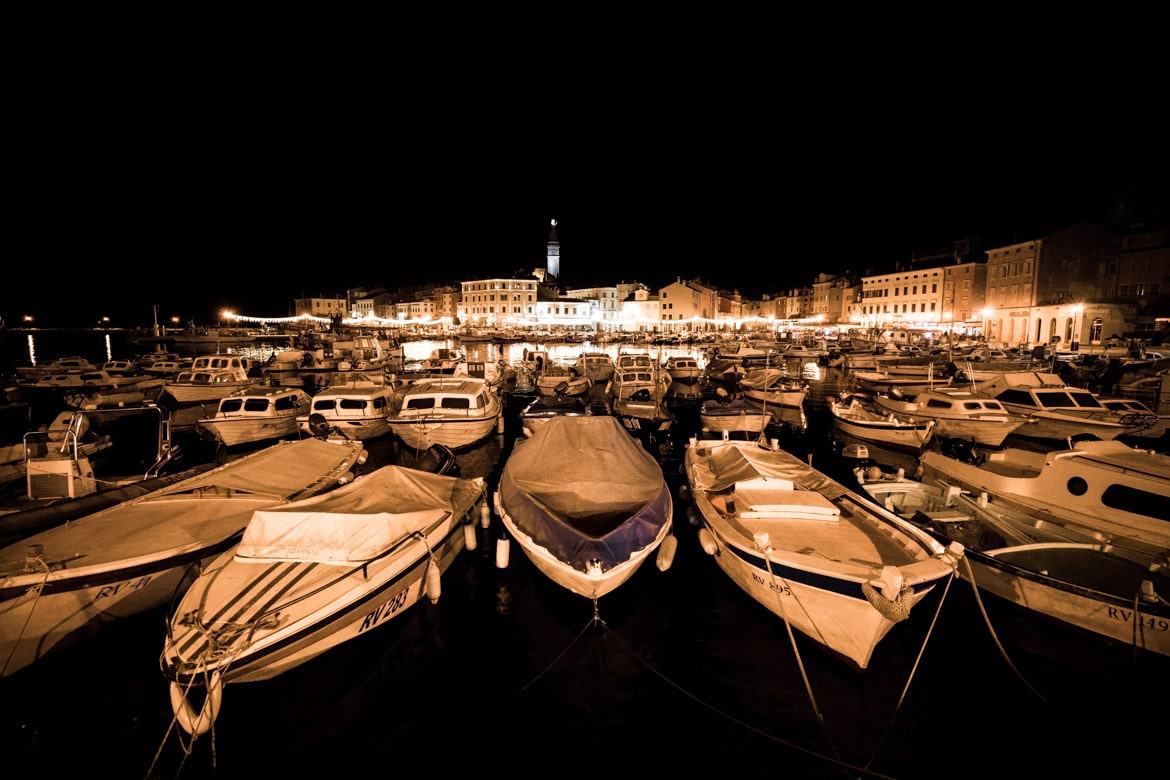 E-MTB tour of Croatia harbour night life