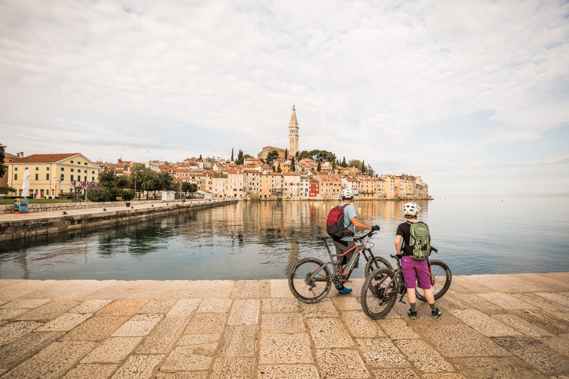 Stopping to take in the sights on a E-MTB Tour Croatia