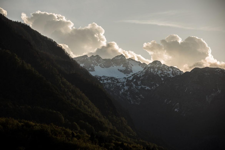 The sun setting over the Julian Alps as seen on our E-MTB tour of Slovenia