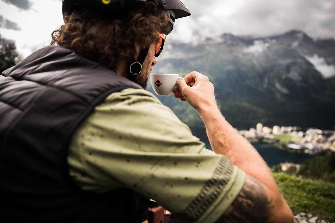 A morning coffee stop on a E-MTB Tour In Switzerland