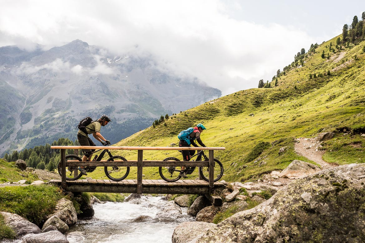 A bridge crossing on a E-MTB Tour In Switzerland