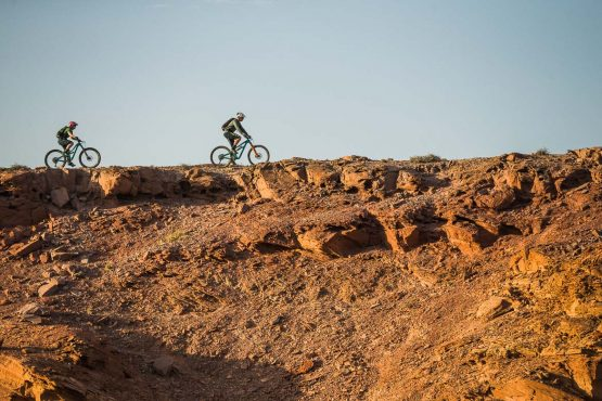 Evening hues on a mountain bike safari tour Namibia