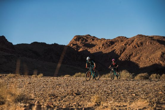 Night fall starting to creep into the valleys on a mountain bike safari tour Namibia