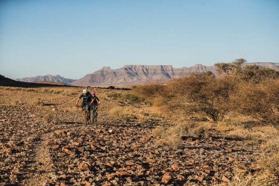 Singletrack made by zebra on a mountain bike safari tour Namibia