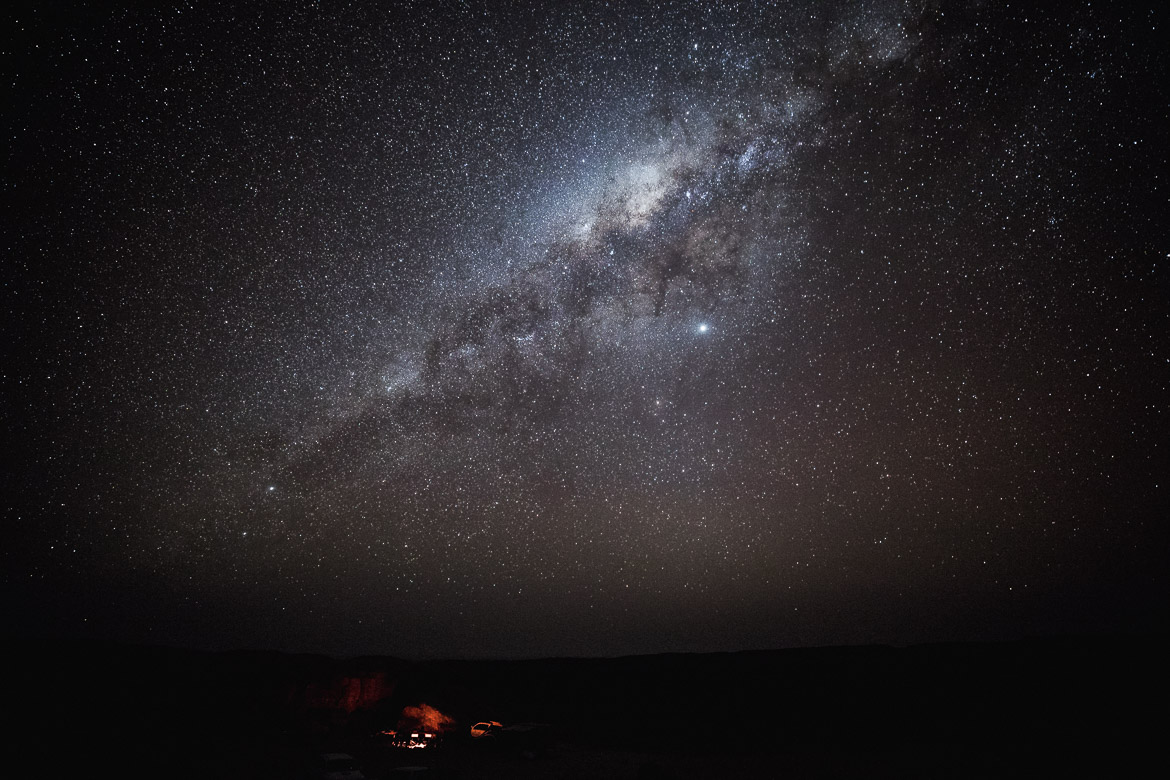Gazing at the stars during a E-MTB safari of Namibia