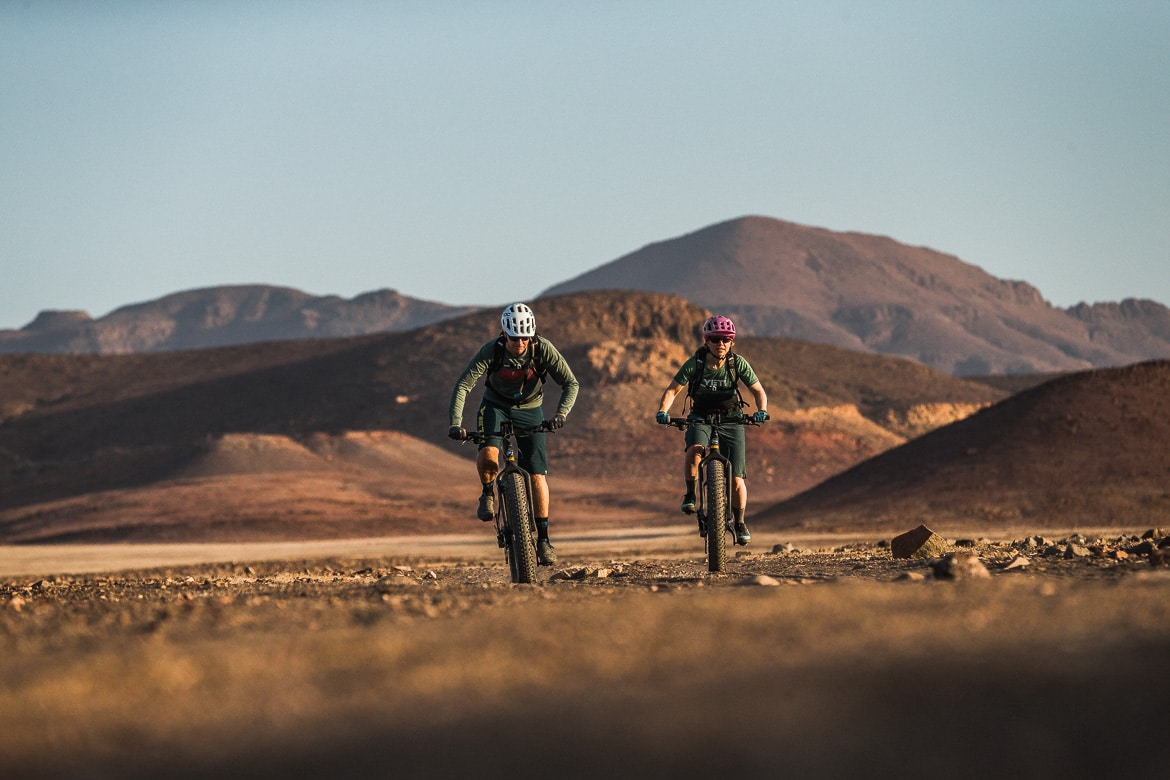 Hiding from the midday heat during a E-MTB safari of Namibia