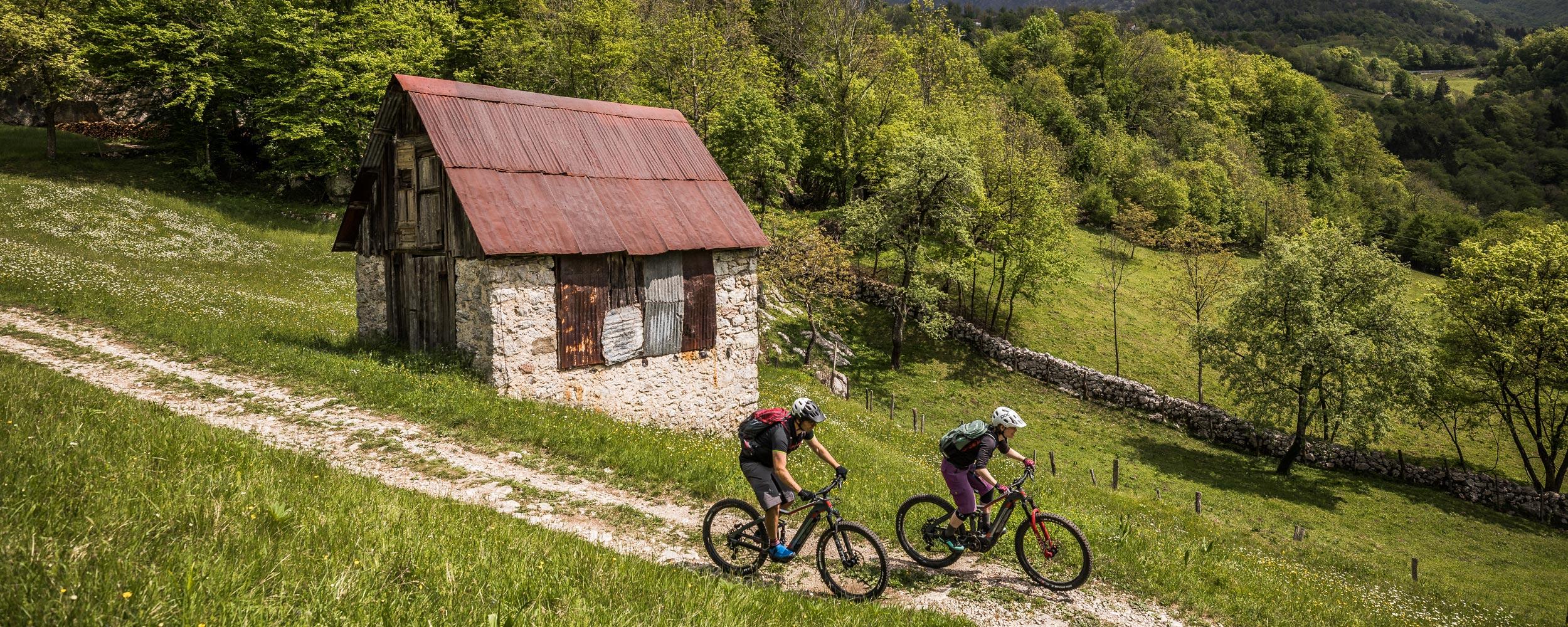 Header for European E-MTB destinations blog desktop, part of mountain bike tours.