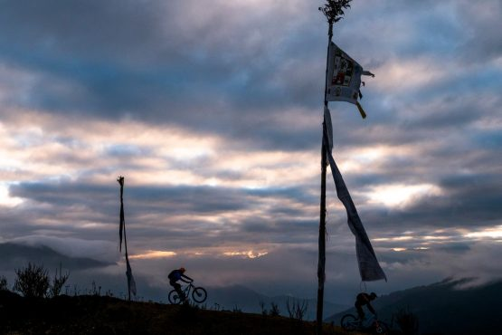 Mountain bike tour Bhutan prayer flags