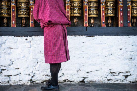 Mountain bike tour Bhutan prayer wheels