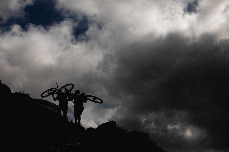 Tracy Moseley + Manon Carpenter hike-a-biking in Scotland