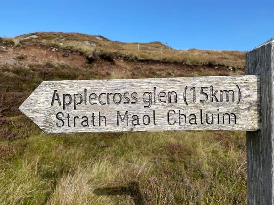 Highland MTB adventure, path sign Applecross