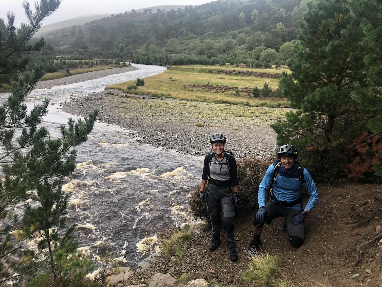 Highland MTB adventure, riders at River Feshie