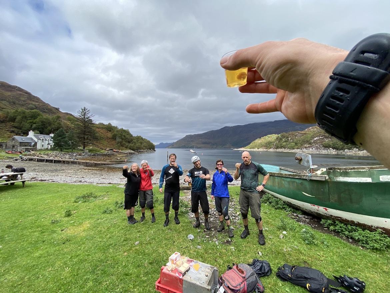 Highland MTB adventure, whisky on the beach