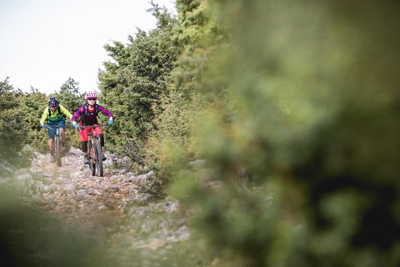 Mountain bike tours, male and female rider in Croatia