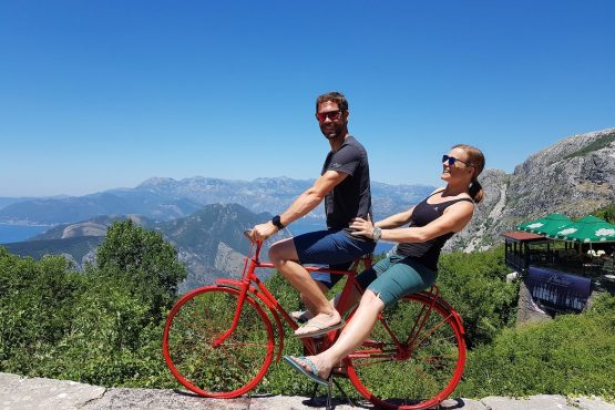 Having fun in the sun on a red bicycle, E-MTB Tour Montenegro